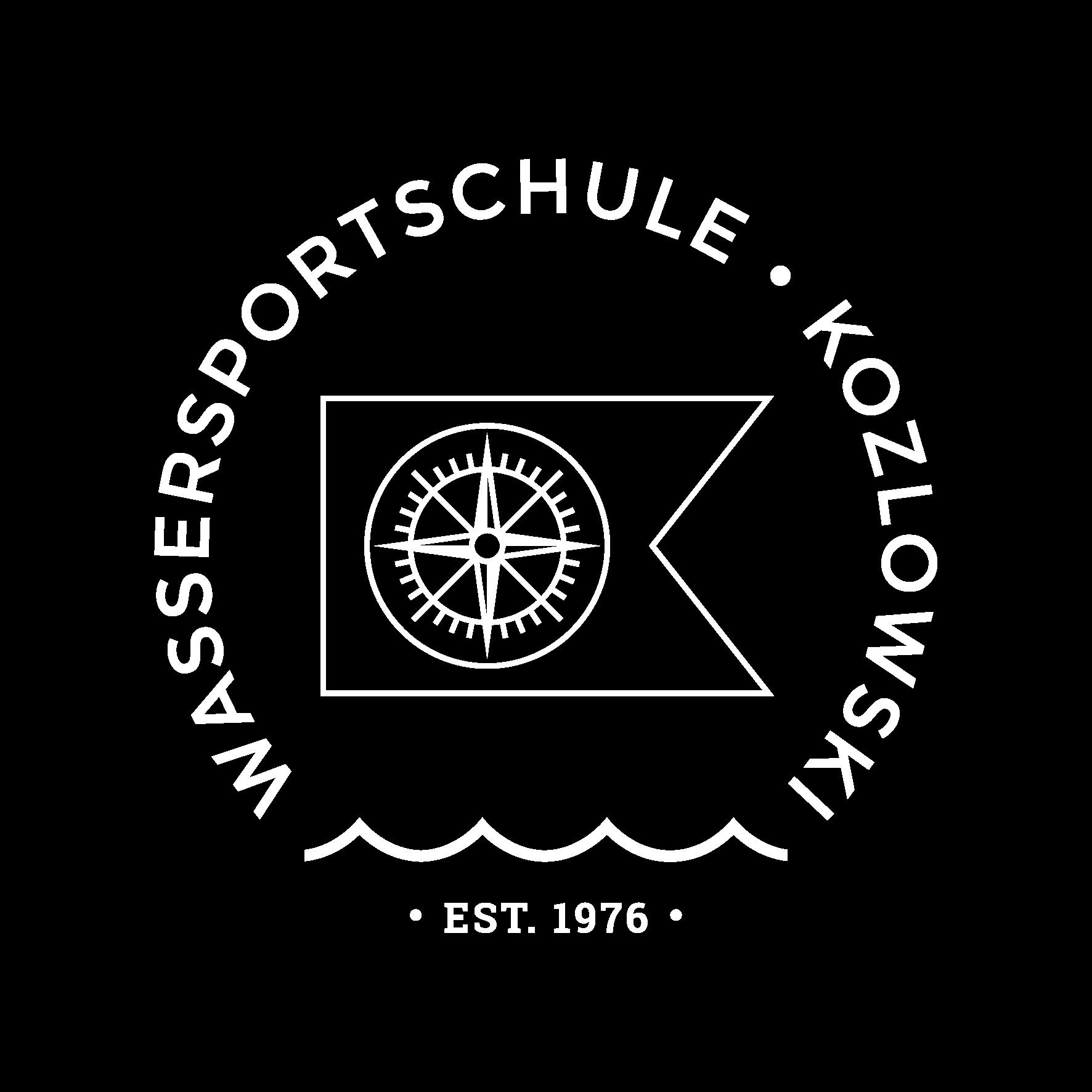 Wassersportschule Kozlowski Logo Fahne Segeln Tauchen Kurse