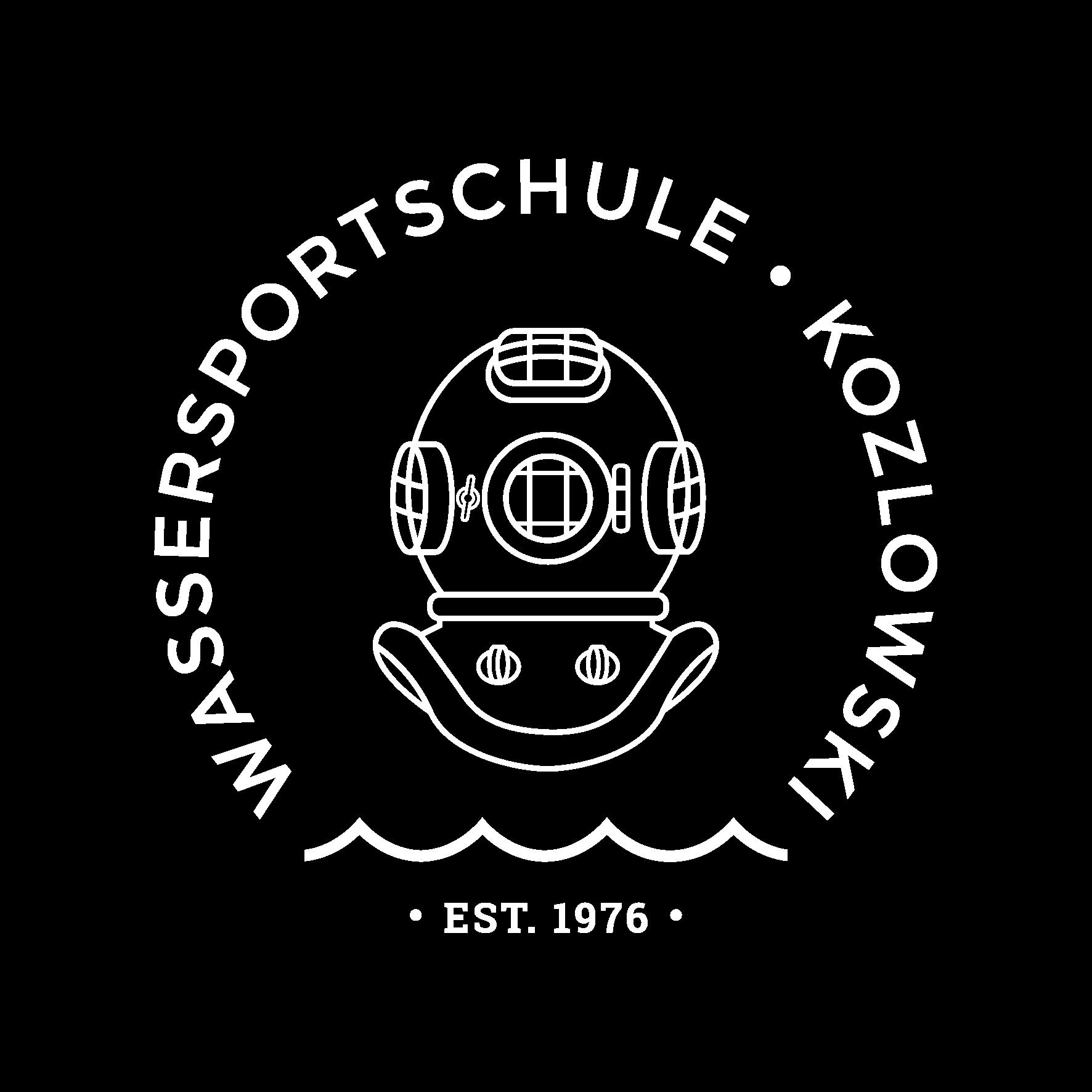 Wassersportschule Kozlowski Logo Helmtaucher Segeln Tauchen Kurse