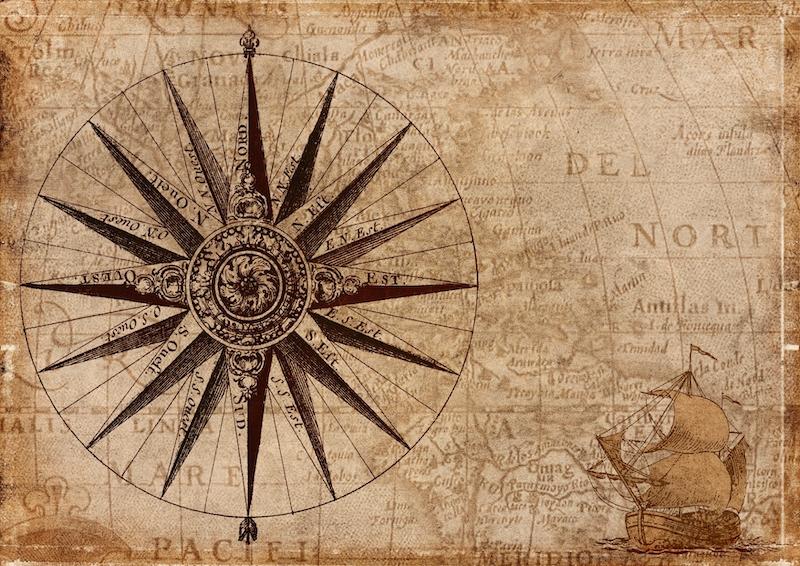 Landkarte mit Segelschiff und Windrose