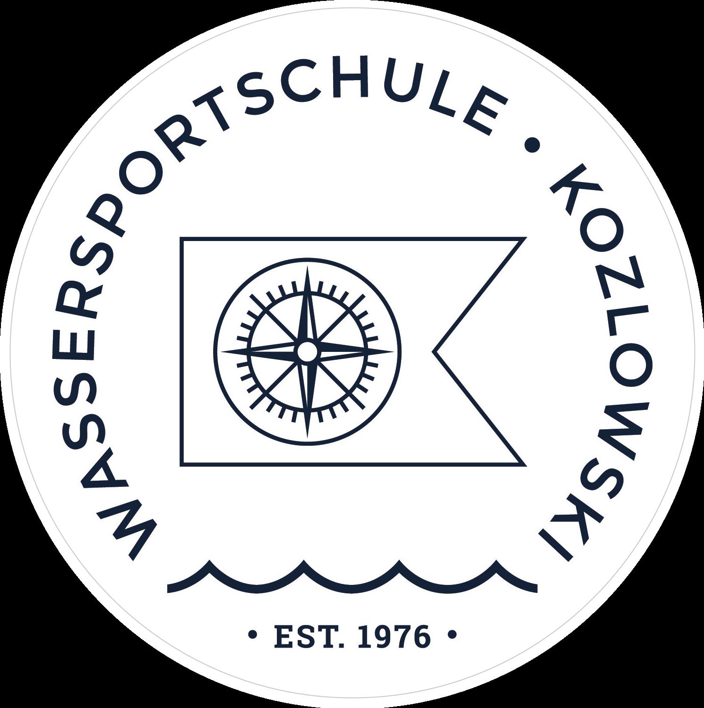 Wassersportschule Kozlowski Logo Segeln blau weiß