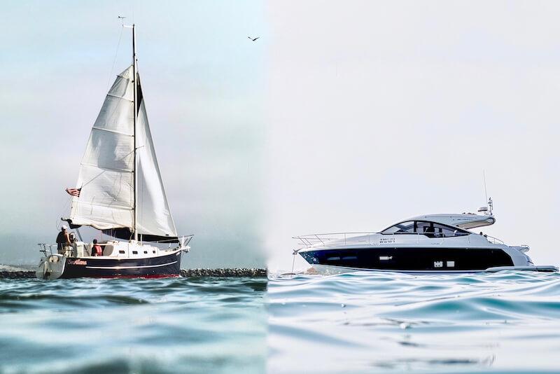 Segelboot und Motorboot auf Wasser